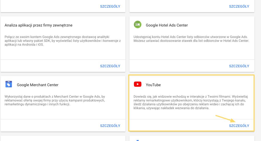 Lista dostępnych połączeń kont w Google Ads