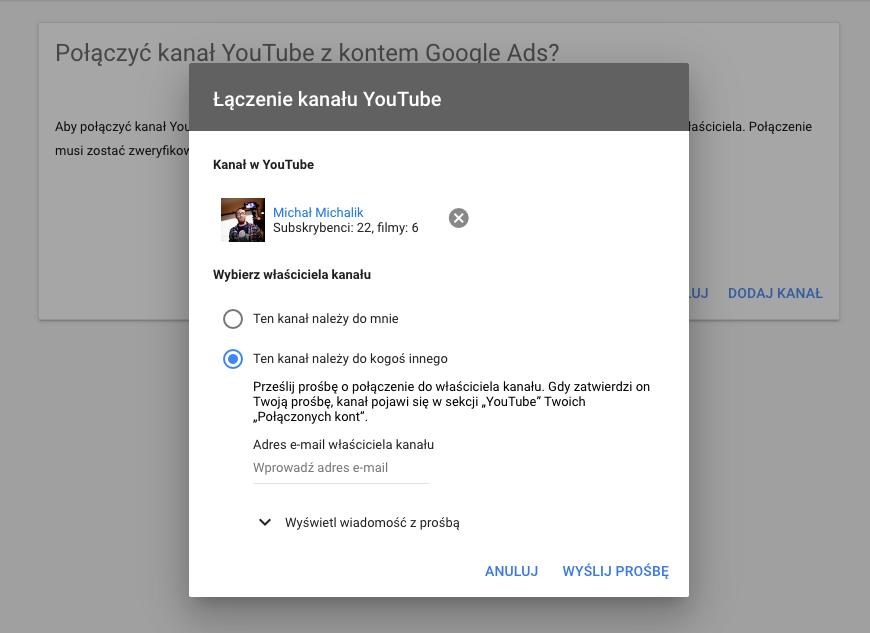 Dodawanie kanału youtube do konta Google Ads
