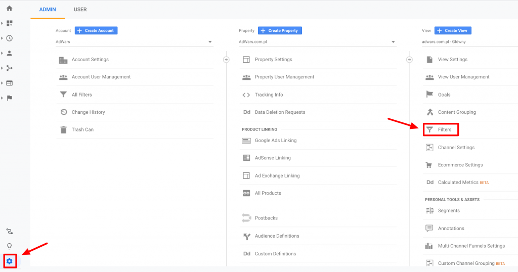 How to exclude IP adress from Google Analytics step 1