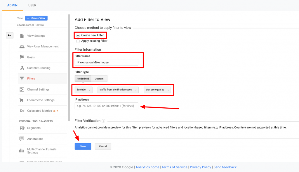 How to exclude IP adress from Google Analytics step 3