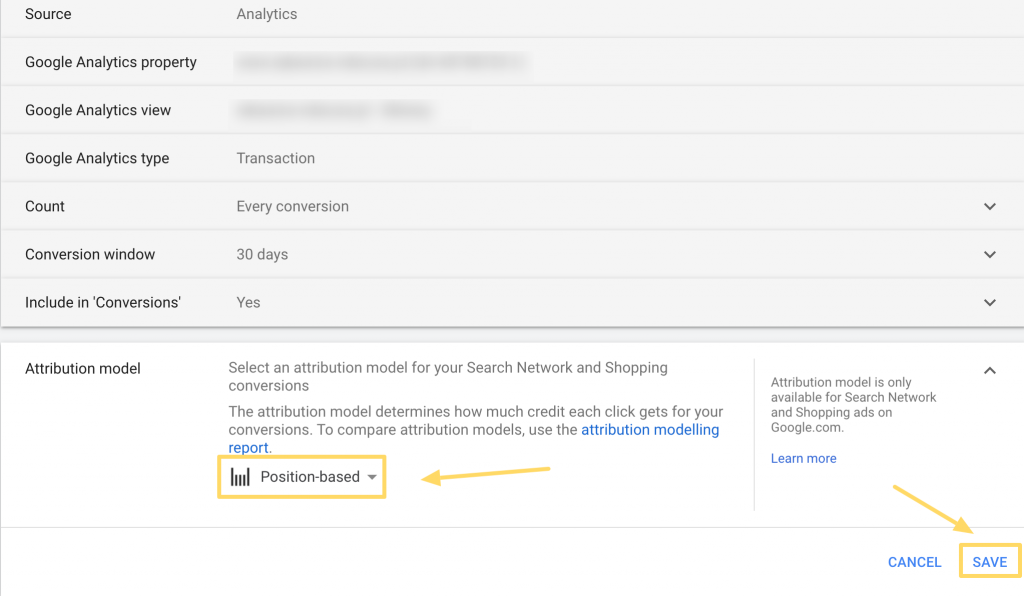 Changing attribution model in Google Ads step 4