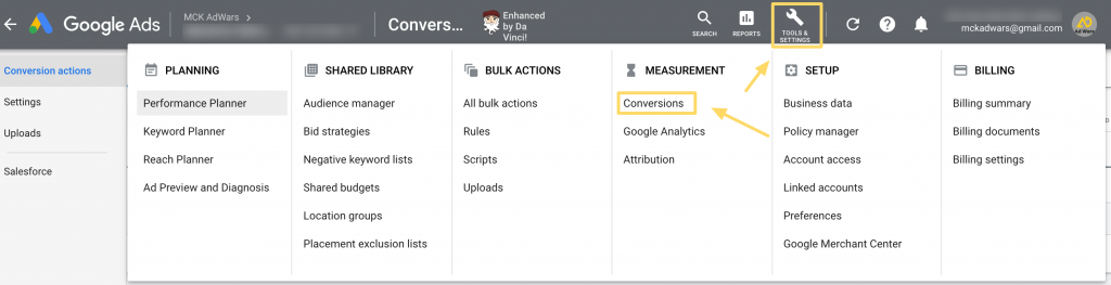Changing attribution model in Google Ads step 1