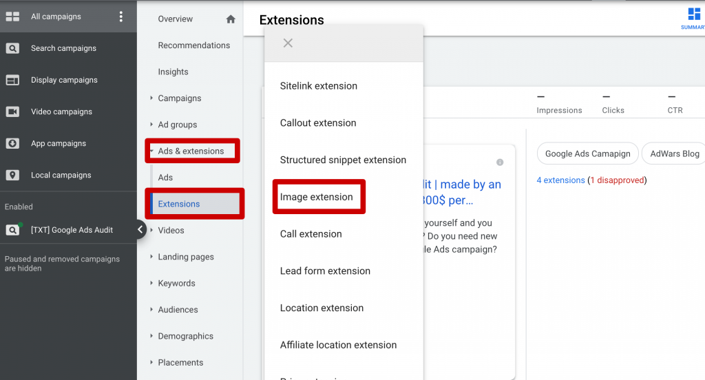 How to add Image extension in Google Ads
